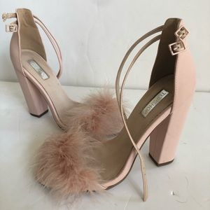Topshop light pink feathered heels